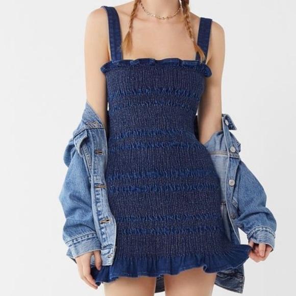 Smocked Denim Mini Dress